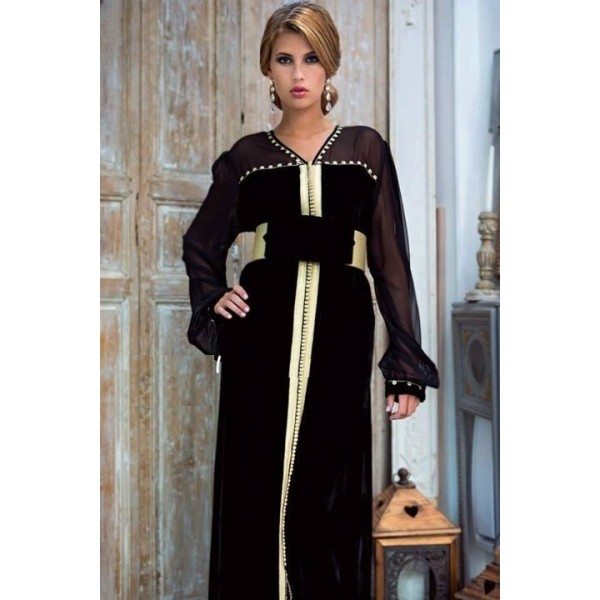 caftan noir simple 198