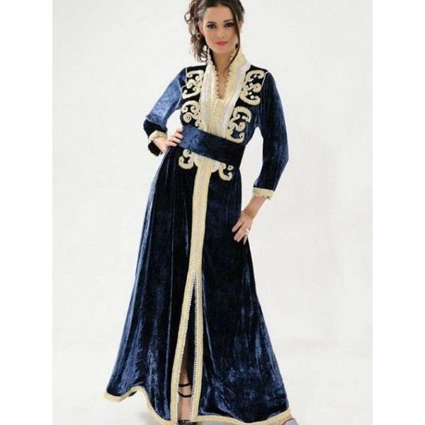 caftan velours col officier 217