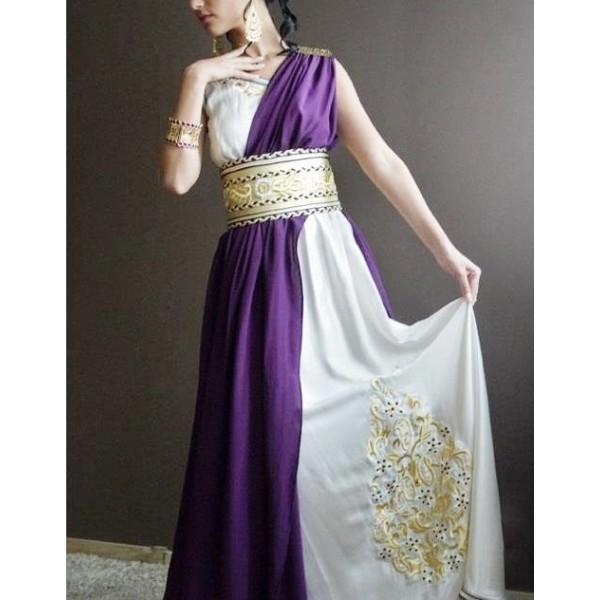 caftan violet blanc