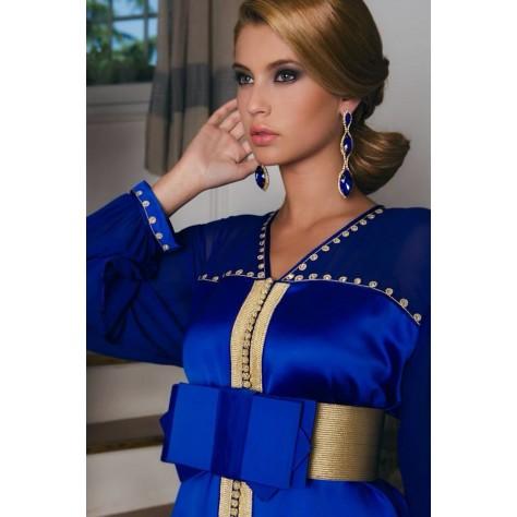 modèle caftan bleu satin 198