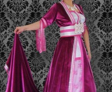 caftan velours couleur rose