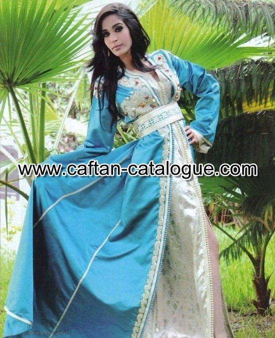 Caftan marocain couleur bleu