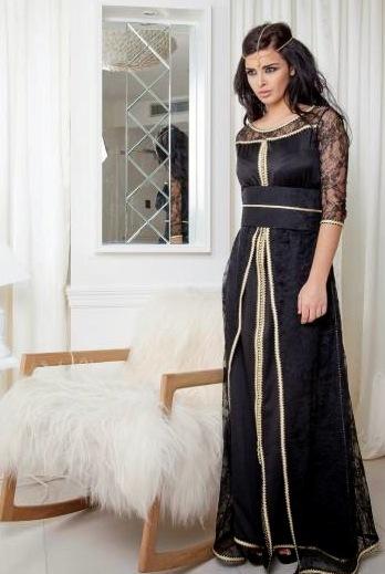 caftan noir et robe de soirée de luxe