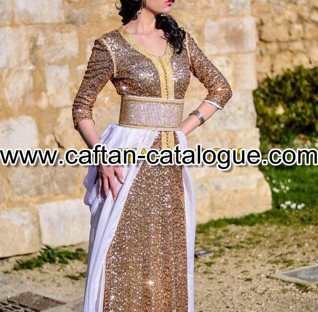 Caftan marocain satin pailleté