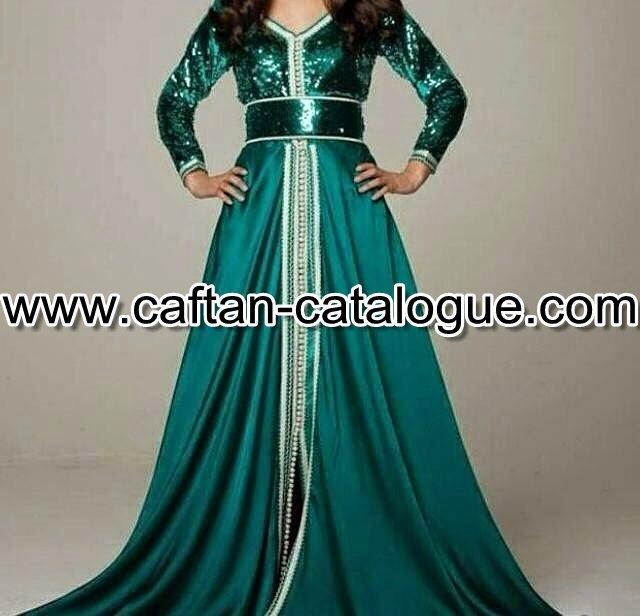 caftan moderne élégant en satin pailleté - caftan catalogue c710b70a2a8