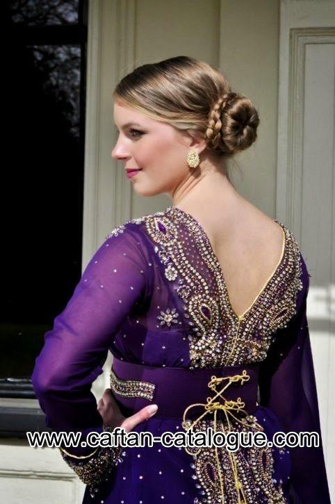 Takchita marocaine de luxe en violet