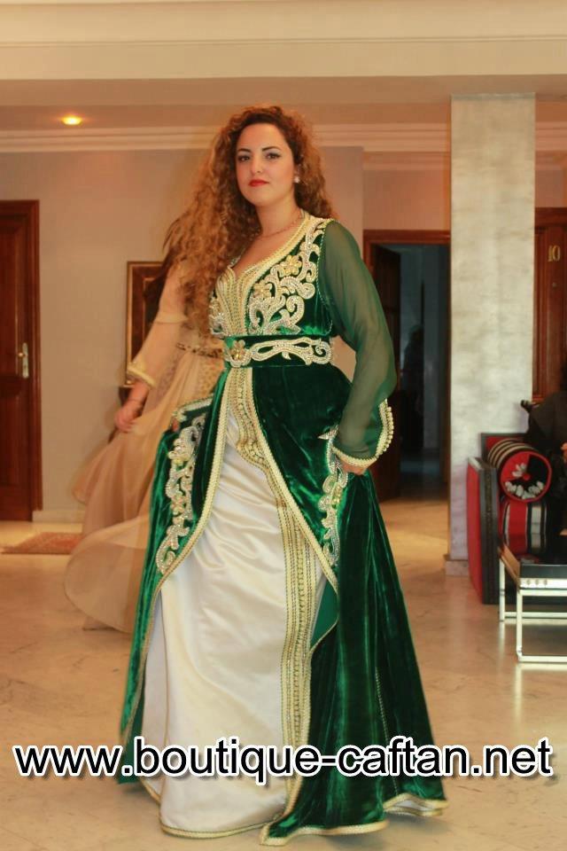 Caftan marocain velours vert
