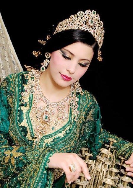 caftan fassi marocain en couleur vert