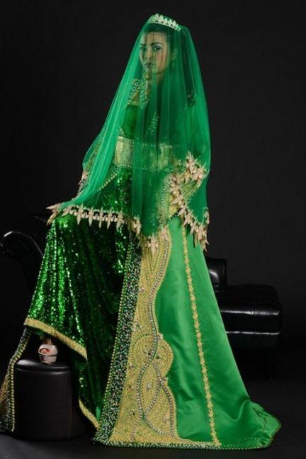 caftan marocain pour henni vert