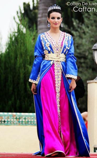 caftan pour mariage en bleu et rose mode 2016