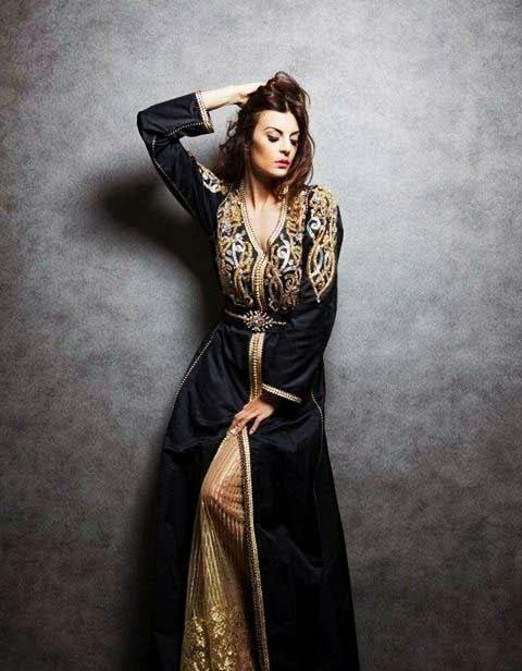 caftan noir dorée mode 2016