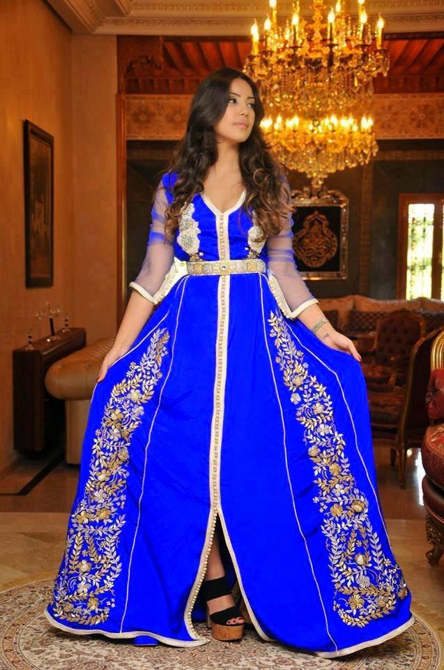 caftan bleu pour mariage moderne