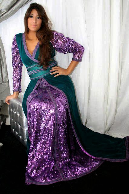 caftan en vert et violet mode 2016