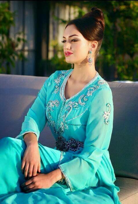 nouveau caftan marocain turquoise de luxe