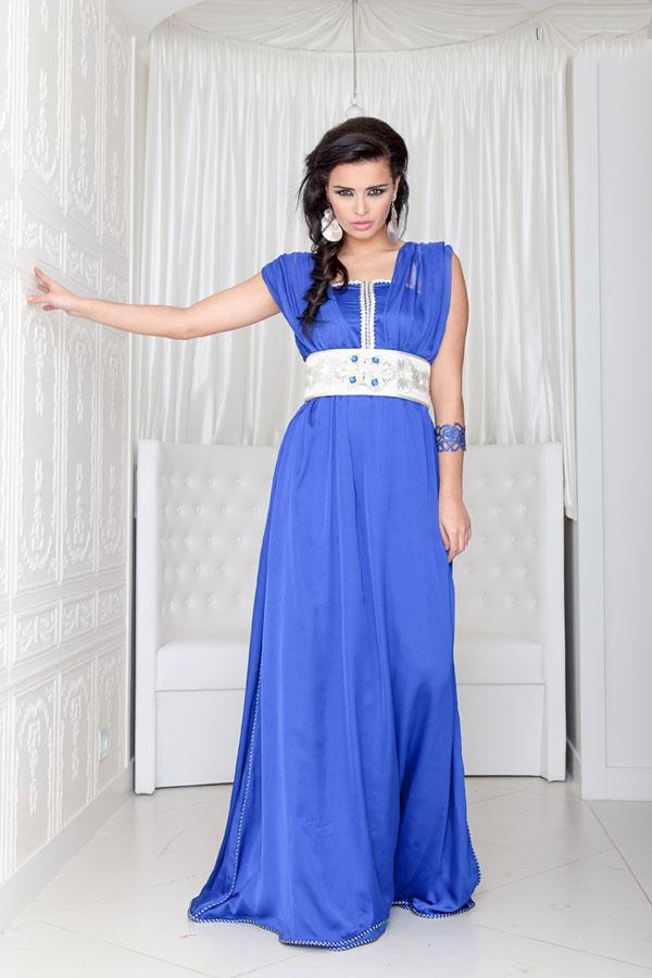 caftan bleu marocain